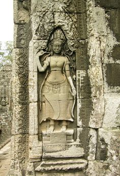 Bas-relief with Apsara at Angkor Wat temple, Cambodia