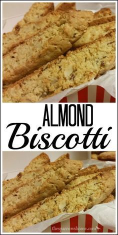 Almond Biscotti - * Suggest Great Articles Here - Almond Biscotti These crunchy Almond Biscotti make the best handmade gifts! I like to give them with some hot chocolate mix for dunking! Biscotti Cookies, Yummy Cookies, Amaretti Cookies, Cake Cookies, Best Biscotti Recipe, Italian Almond Biscotti Recipe, Pistachio Biscotti, Cookie Recipes, Dessert Recipes