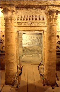 """Kom el-Shuqafa Catacombs, Alexandria, Egypt-- Kom el-Shuqafa (catacombs) are a marvel of technology and art. Built in the late century AD, the Kom el-Shuqafa (literally means """"Mound of Shards"""") is the largest known Roman burial site in Egypt. Egypt Tourism, Egypt Travel, Ancient Egyptian Art, Ancient History, Luxor, La Danse Macabre, Kairo, The Catacombs, Visit Egypt"""