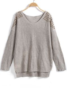 Shop Apricot V Neck Long Sleeve Rivet Embellished Sweater online. Sheinside offers Apricot V Neck Long Sleeve Rivet Embellished Sweater & more to fit your fashionable needs. Free Shipping Worldwide!