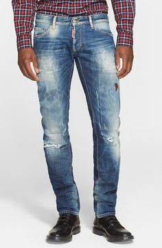 Dsquared2 Slim Fit Ripped and Repaired Jeans (Indigo)