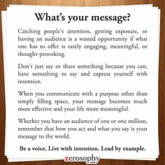 Excerpt from: What's your message? #Zerosophy