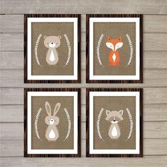 Pépinière Wall Art imprimables boisé Critters, Fox, Bear, Racoon, Bunny 8 x 10-Instant Download forêt impression numérique bébé enfants Nursery décor