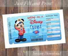 Printable Ticket for a Disney Cruise  Captain by KirstensKreation