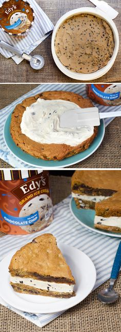 Edy's Giant Cookie Ice Cream Cake: This shareable ice cream cookie cake is great for birthday parties, tea parties, pizza parties, sleepover parties – well, just about any party! Start by baking two layers of cookie dough in circular cake pans and let cool. Then, sandwich a thick layer of Edy's Chocolate Chip ice cream between the two and cut into wedges to get the party started!