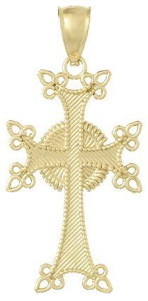 14k Gold Religious Necklace Charm Pendant, Armenian Cross Textured:Amazon:Jewelry