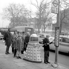 Dalek waiting for a bus. 1963