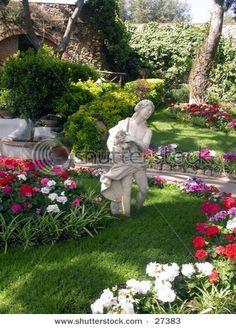 Garden of Augustus Capri, Italy . note grass rows