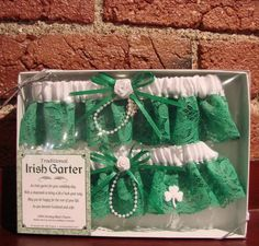 Traditional Irish Garters... One to keep and one to send flying into the sea of eligible bachelors. =D (All Things Irish store)