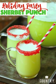 Holiday Party Sherbet Punch (i. Grinch Punch) Holiday Party Sherbet Punch is a little twist on a classic punch. The green color works perfectly for the holidays but it's tasty & refreshing any time! Christmas Cocktails, Holiday Drinks, Holiday Parties, Holiday Recipes, Summer Parties, Christmas Recipes, Best Christmas Punch Recipe, Holiday Punch, The Grinch Cocktail Recipe