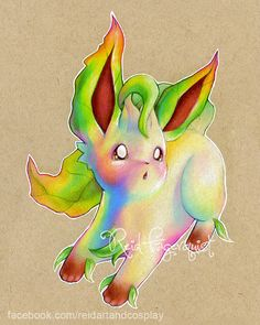 Colorful Leafeon art PRINT 8x10 inches signed by ArtbyReid on Etsy