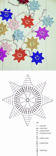 Stern häkeln / crochet star Star garland, pattern by Ros Badger Crochet Bunting, Crochet Garland, Crochet Diy, Crochet Stars, Crochet Snowflakes, Crochet Home, Crochet Motif, Crochet Flowers, Crochet Summer