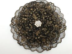 Black and Gold Lace Kippah Black Lace Yarmulke by VintageBloomsByEllen