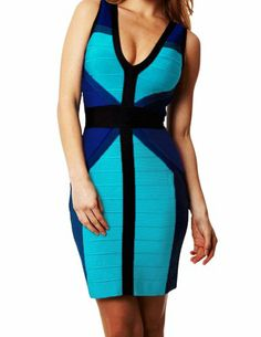 Kranda Sexy V-neck Blue Patchwork Bandage Dress Bodycon Evening on hotgirlsclothes.com