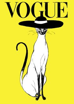 VOGUE Cover. Illustration by René Gruau. I think the contrast of the yellow on the black and white makes this cover very unusual
