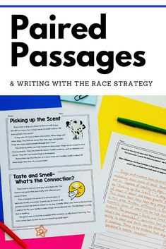 Are your students struggling with paired passages? Check out this easy to manage packet of short passages and writing prompts to get them started. Students will read and respond using the RACE strategy. Great for test prep and scaffolding. Writing Lessons, Writing Activities, Writing Skills, Writing Prompts, Student Teaching, Teaching Reading, School Teacher, Passage Writing, 8th Grade Ela