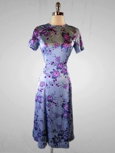 VTG 60s Shiny Silk Satin Asian Oriental Inspired Fitted Midi Floral Dress S #Unbranded