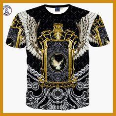 2017 Brand Famous Summer New Mr GUGU & Mis GO versa T Shirt faith 3D Gold flower Du Jin Sha printing T-shirt Tops Large size