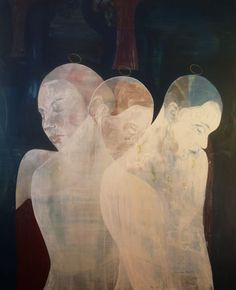 Untitled (3 women) (2010) by Cairo & Amsterdam-based Egyptian painter Essam Marouf (b.1958). Acrylic on linen, 63 x 76.8 cm. via Syra Arts