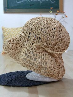 The Options Lace Eco friendly crochet summer hat  raffia by ooty, $57.00