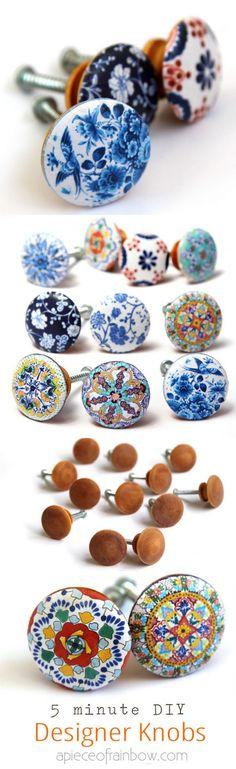 Anthropologie dignos de gabinete ou porta botões DIY que parecem pintados à mão do desenhador puxadores de cerâmica!  Baixar belos desenhos para fazer o seu próprio conjunto facilmente!  - Um pedaço do arco-íris