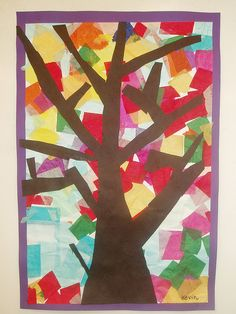 Tissue Paper trees. Place on the window so the light shines through. Fall crafts for kids.