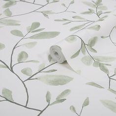 Superfresco Easy Eugenie Green & white Leaves Smooth Wallpaper | DIY at B&Q