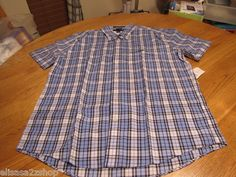 Men's Tommy Hilfiger shirt small button up blue plaid 472 7816084 College Poplin