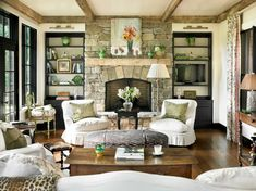 Living Room with Wood Beams- From My Front Porch To Yours