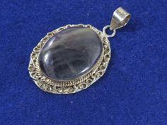 Vintage Sterling Silver Banded Agate Gemstone Pendant