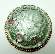 XL ANTIQUE LAYERED ROSE MOLDED TINTED GLASS Over Silver Paint Button BEAD BORDER