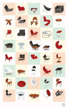 Mid century modern furnIture chart.