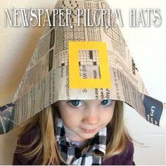 Thanksgiving Newspaper Pilgrim Hats - Thanksgiving crafts for kids Newspaper Hat, Newspaper Crafts, Thanksgiving Activities For Kids, Kids Hats, Pilgrim, Little Ones, Free Printables, Craft Ideas, Crafty