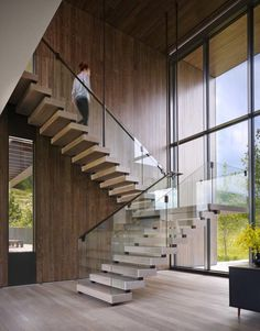 Astounding modern home surrounded by the majestic Rocky Mountains – Modern Steel & Glass Stairs We Love - architecture house Glass Stairs Design, Home Stairs Design, Modern House Design, Glass Railing, Staircase Design Modern, Railing Design, Window Design, Contemporary Design, Stairs Window