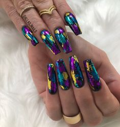 """1,948 Likes, 16 Comments - DallasJnails (@dallasalexiaxo) on Instagram: """"ISSA PARTY on her nails Foil game strong using foils & fransfer gel from @daily_charme …"""""""