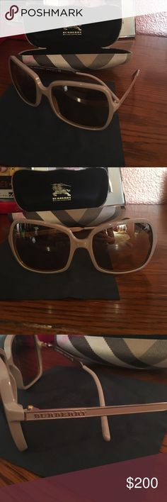 Burberry sunglasses Gorgeous Burberry sunglasses that have only been worn a handful of times. They are in near perfect condition. They are a fun tan color and fit nicely on many face shapes! THey are 100% authentic and were purchased at the Burberry store in Austin, TX. Burberry Accessories Sunglasses