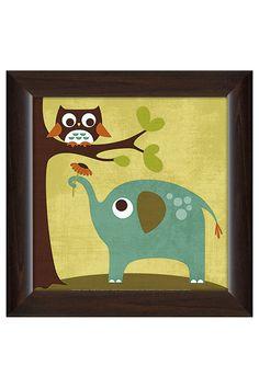 FramedCanvasArt Owl and Elephant, Canvas - Beyond the Rack
