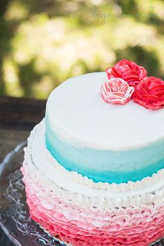 Coral & Mint Ombre Birthday Cake! OMG!! Perfect sweet sixteen cake!