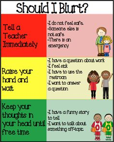 Blurt Control- Help students learn when to hold their thoughts, raise their hand or tell a teacher. Helpful to controlling impulsive and blurting little ones :) add to lesson about self control Classroom Behavior Management, Behaviour Management, Classroom Organisation, Behavior Plans, Behavior Charts, Class Management, Classroom Discipline, Management Tips, Kindergarten Classroom