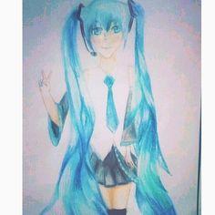 Hatsune Miku 🎶🚀✨✌finalized✅ Insta: @art.bellaa  https://www.instagram.com/p/BJ0rPGtA0Dq/ #drawing #finalized #anime #hatsunemiku