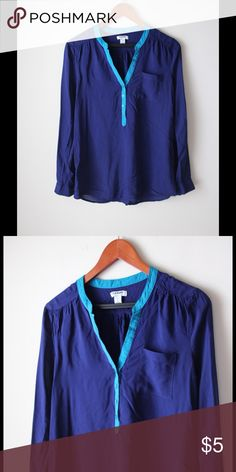 """Old Navy lightweight blue top Lightweight blue top - long sleeves with button cuffs - v neckline with button closure - side slits - rayon - chest pocket - chest across measures 18"""" - total length measures 25"""" - size S Old Navy Tops"""