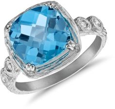 Blue Nile Blue Topaz and Diamond Cushion Ring in Brushed 14k White Gold