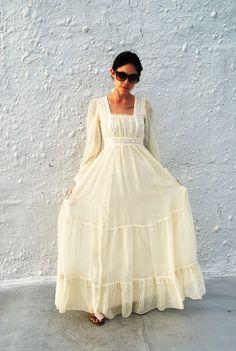 Vintage 1970 s Gunne Sax par Jessica longue robe blanche