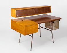 George Nelson : Desk with Aluminium File Basket