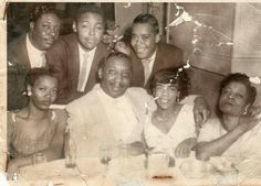 1956 708 Club Chicago. Front middle Muddy and Mildred. Back row L -R Otis Spann, Bob Hadley and James Cotton.