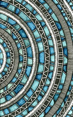 Circular Waves by Rebecca Blair - love this zentangle style mosaic. Zentangle Patterns, Zentangles, Pattern Art, Pattern Drawing, Grey Pattern, Mandala Pattern, Art Deco, Art Nouveau, Geometric Art