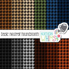 Neutral Houndstooth Digital Paper – scrapbook paper in grey, brown, tan, navy, & olive - masculine paper - printable paper - commercial use