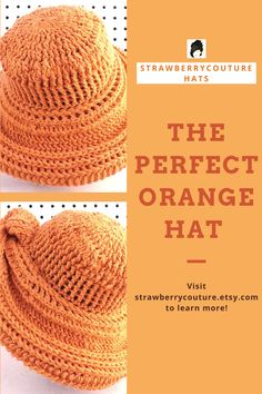 This creative crochet idea make great handmade gift for that special best friend. Wide brim hat for women pattern. The unique twist allows 10+ looks by rotating the angle. Work in the round. Begin the brim on both the front and back sides at the same time. Make it for her birthday or that special occasion. The casual and fancy hat is easy to wear with your winter, summer, or spring outfit. Show her she is awesome with this cool gift to make for inspiration! #strawberrycouture #crochetideas Orange Hats, Different Stitches, Fancy Hats, Wide-brim Hat, Cool Gifts, Hats For Women, Handmade Gifts, Crochet Patterns, Crochet Hats