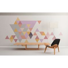 Geometric Mid Century Triangles Pastel Wall Art Floor Graphics Wall... (100 CHF) ❤ liked on Polyvore featuring home, home decor, wall art, home & living, home décor, silver, wall decals & murals, wall décor, door murals and window murals