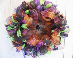 Halloween wreaths Spider Halloween mesh wreath by ChickadeeLore